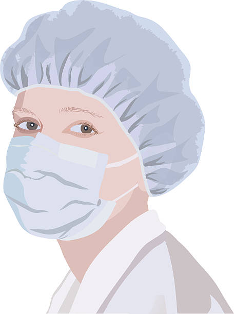 Realistic portrait of a nurse in the mask and cap Realistic portrait of a nurse in the mask and cap surgical cap stock illustrations