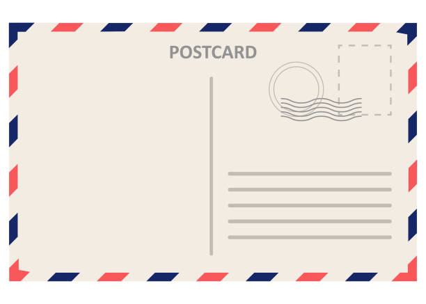 realistic postal card, postcard isolated on white background. - postcard stock illustrations