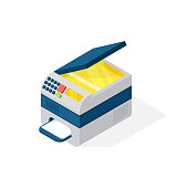 Realistic printer vector isometric illustration.