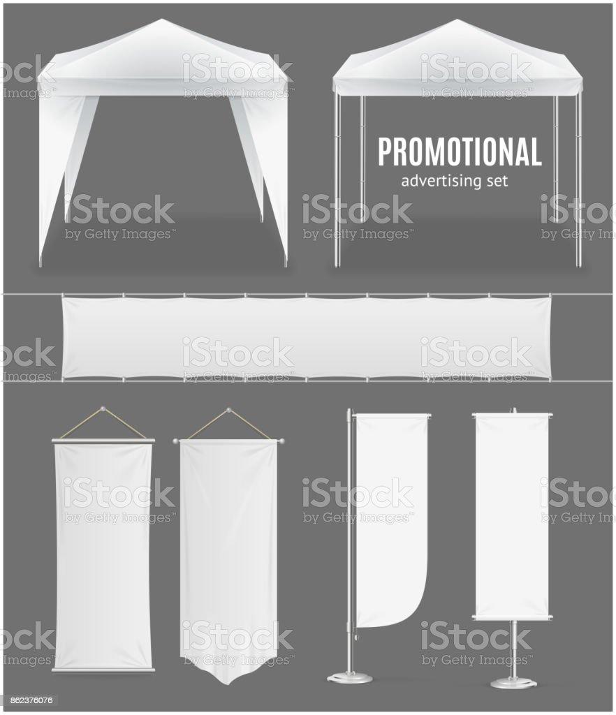 Realistic Promotional Advertising Set. Vector vector art illustration