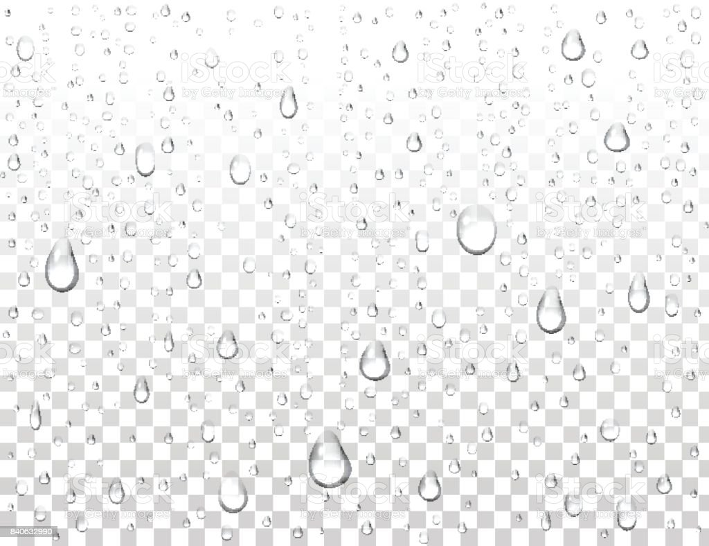 Realistic pure water drops on isolated background. Clean water drop condensation. Steam shower condensation on vertical surface. Vector illustration. - illustrazione arte vettoriale