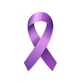 Realistic purple Awareness Ribbon to World Lupus Day. 3d violet tape medical symbol isolated on white background. Vector illustration EPS 10 file.