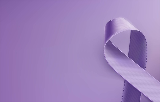 Realistic purple ribbon, epilepsy awareness symbol, isolated on violet background.