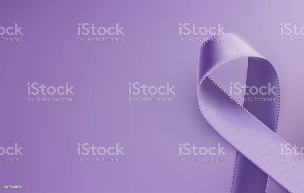 Realistic purple ribbon, epilepsy awareness symbol, isolated on violet background. vector art illustration