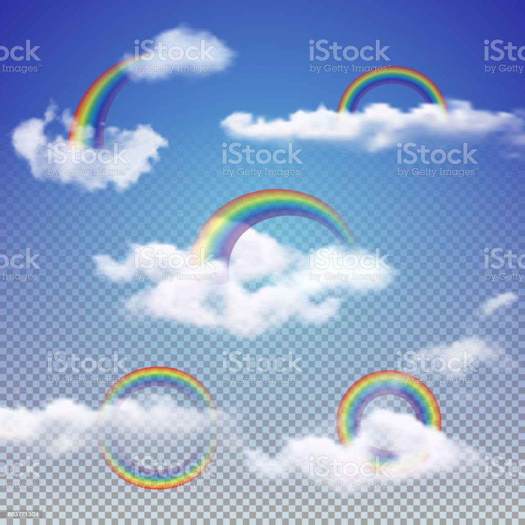 Realistic Rainbows Set With 3d Clouds Stock Illustration