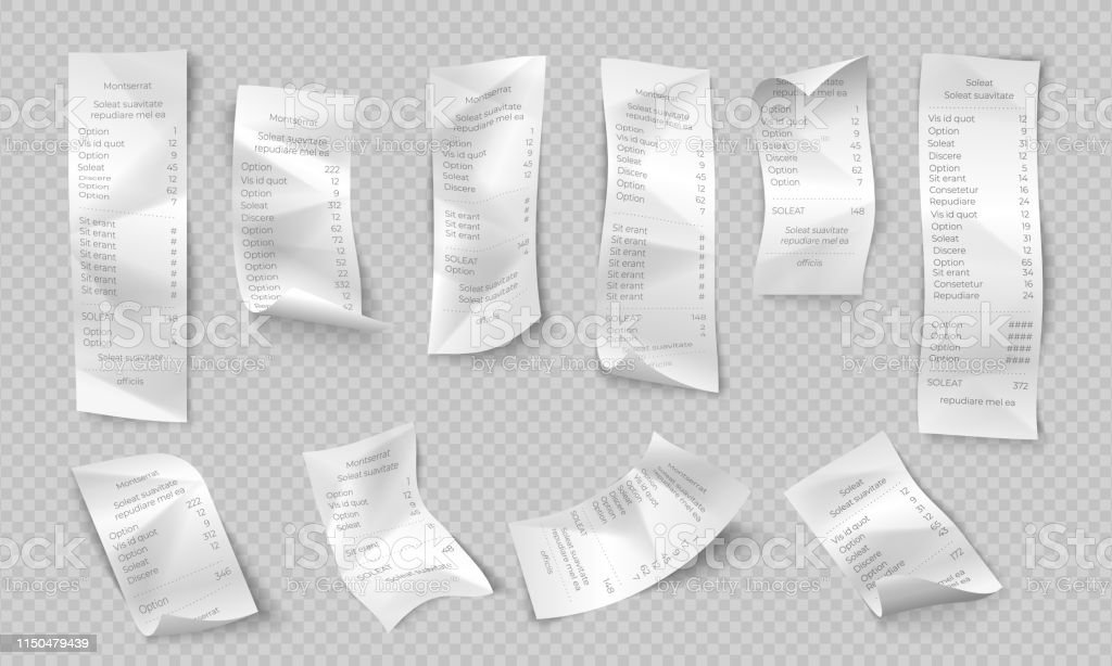 Realistic receipt. ATM paper check, shop and supermarket payment, purchase invoice, restaurant bill. Vector bank transaction ticket - arte vettoriale royalty-free di A quadri