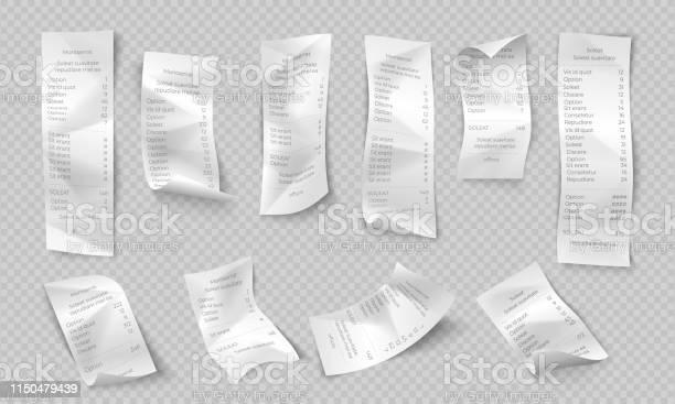 Realistic Receipt Atm Paper Check Shop And Supermarket Payment Purchase Invoice Restaurant Bill Vector Bank Transaction Ticket - Immagini vettoriali stock e altre immagini di A quadri