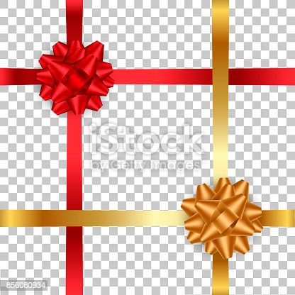 istock Realistic red and gold bow with ribbon on transparent background..Vector illustration. 856080934