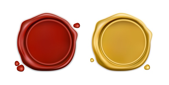 Realistic Red and Golden Wax Seal. Vectore 3d Illustration