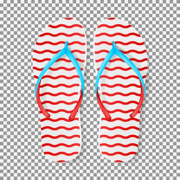 stockillustraties, clipart, cartoons en iconen met realistische rode en witte slippers - slipper