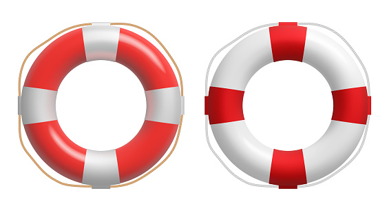 Realistic red and white lifebuoy whith a rope. Vector safety torus.