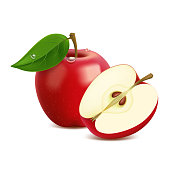 istock Realistic red apple with leaf and drops 1310274980