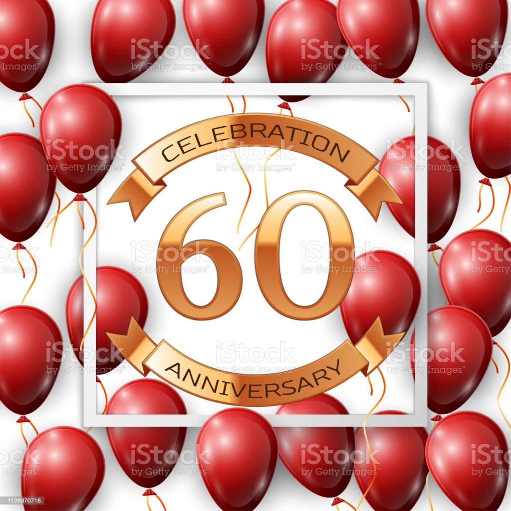 Ballons Rouges Réalistes Avec Ruban Au Centre Texte Dor 60