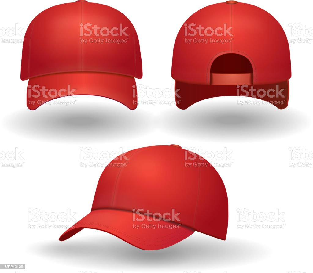 Realistic red baseball cap set. Back front and side view isolated 3d vector illustration vector art illustration