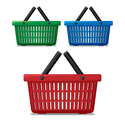 Realistic red, blue and green empty supermarket shopping basket isolated. Basket market cart for sale with handles. vector illustration