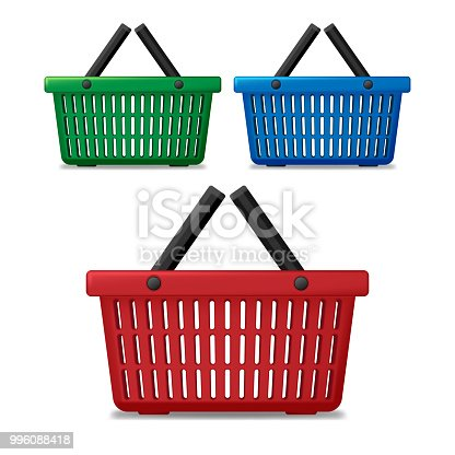 Realistic red, blue and green empty supermarket shopping basket isolated. Basket market cart for sale with handles. vector illustration EPS 10