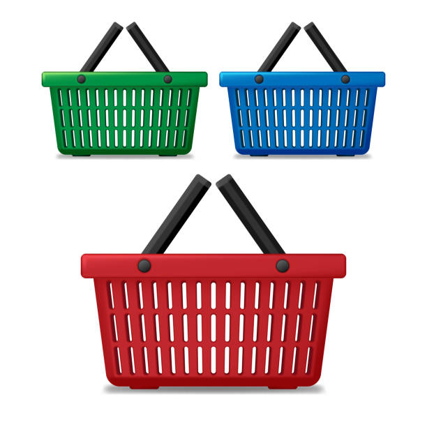Realistic red, blue and green empty supermarket shopping basket isolated. Basket market cart for sale with handles. vector illustration Realistic red, blue and green empty supermarket shopping basket isolated. Basket market cart for sale with handles. vector illustration EPS 10 shopping basket stock illustrations