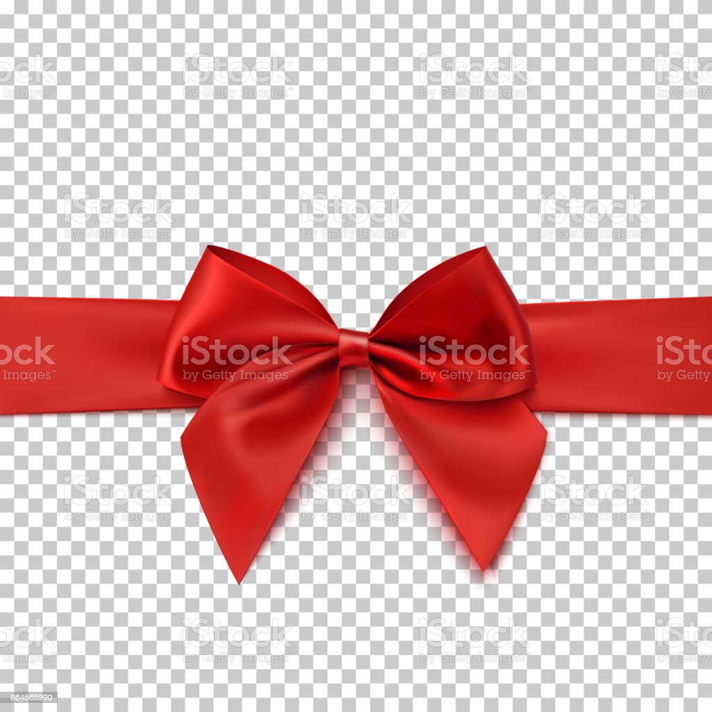 Realistic red bow and isolated on transparent background. vector art illustration