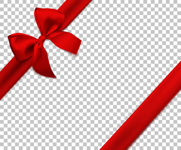 Realistic red bow and ribbon isolated on transparent background. Template for brochure or greeting card. Vector illustration. Realistic red bow and ribbon isolated on transparent background. Vector illustration. Template for brochure or greeting card. holidays stock illustrations