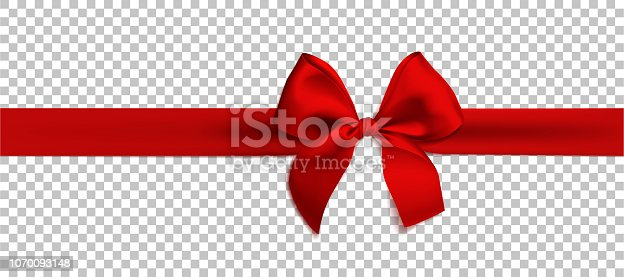 Realistic red bow and ribbon isolated on transparent background. Vector illustration. Template for brochure or greeting card.
