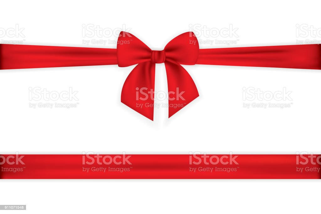 Realistic red bow and ribbon isolated on transparent background. Template for greeting card, poster or brochure. Vector illustration vector art illustration