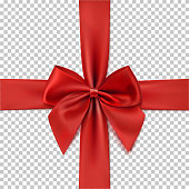Realistic red bow and ribbon isolated on transparent background.