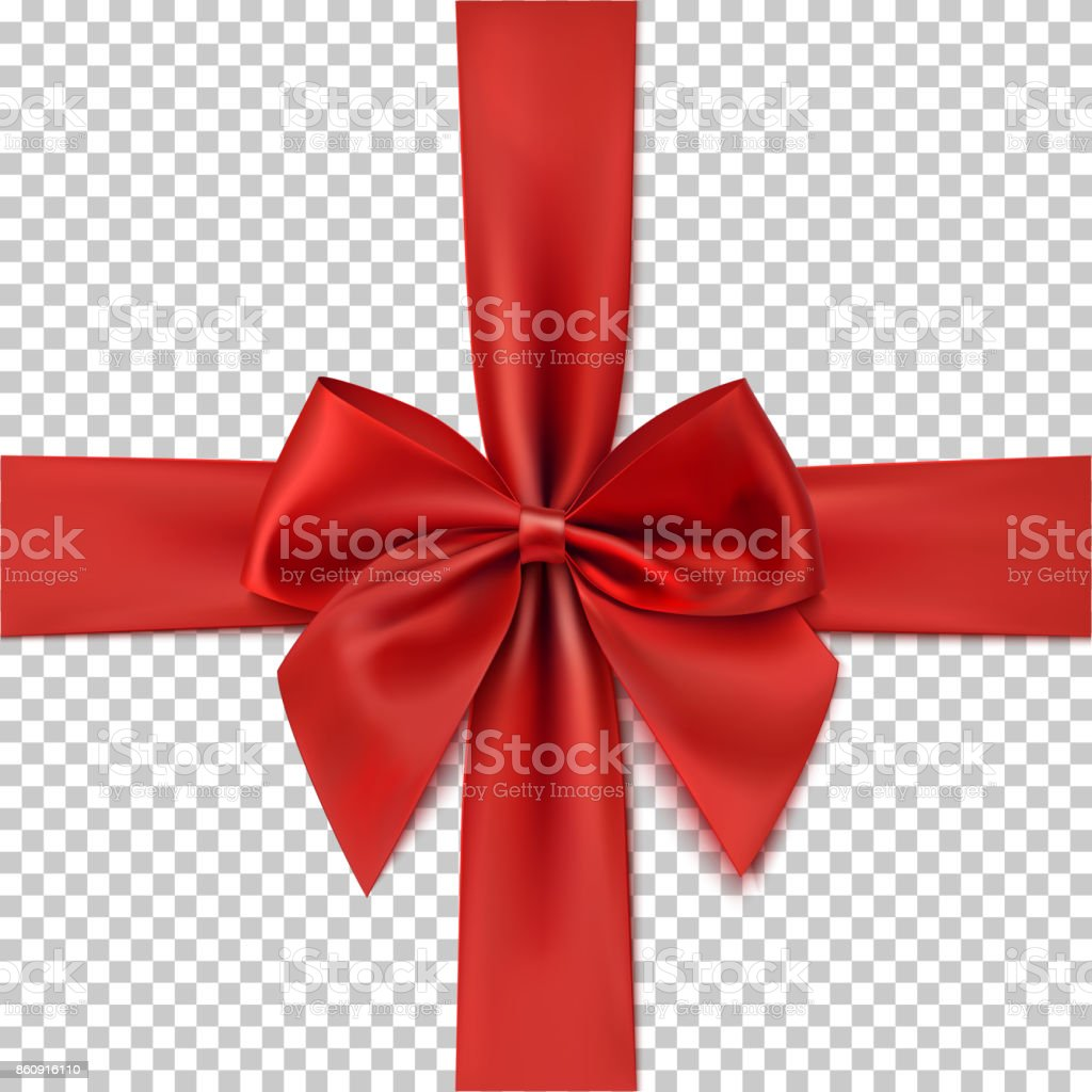 Realistic red bow and ribbon isolated on transparent background. vector art illustration