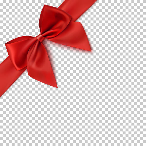 Realistic red bow and ribbon. vector art illustration