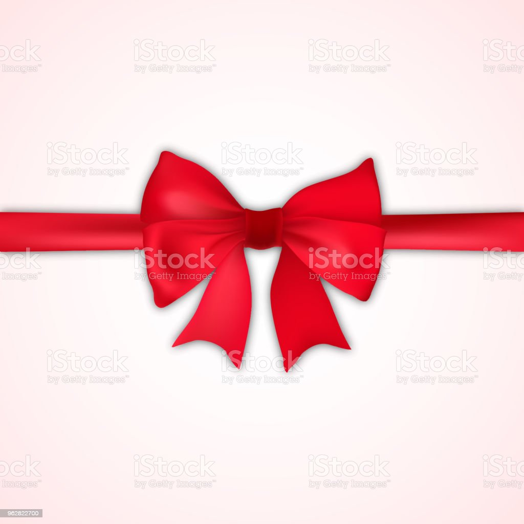 Realistic red bow and satin on white background. Vector. - arte vettoriale royalty-free di Ambiente