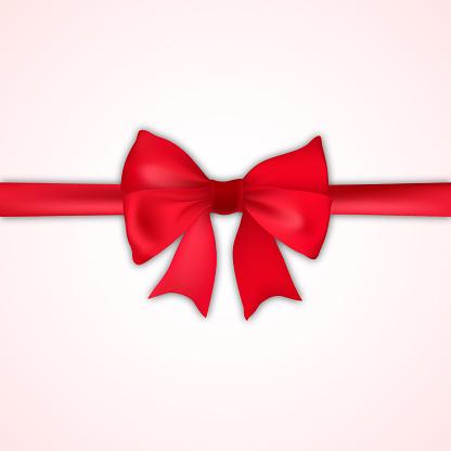 Realistic Red Bow And Satin On White Background Vector - Immagini vettoriali stock e altre immagini di Ambiente