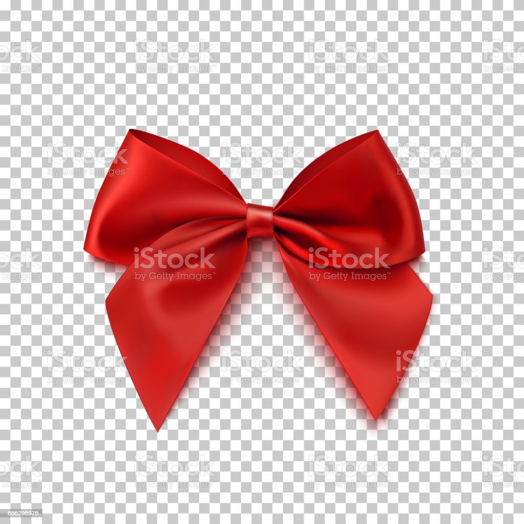 Realistic red bow isolated on transparent background. vector art illustration