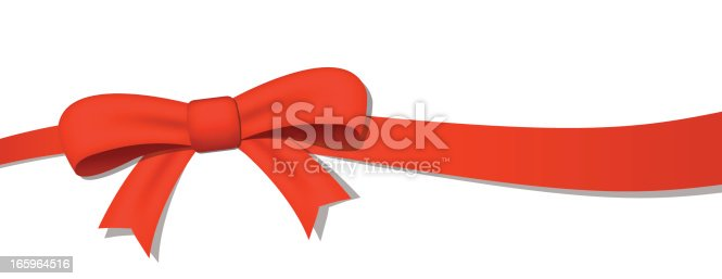 Realistic Red Bow over white