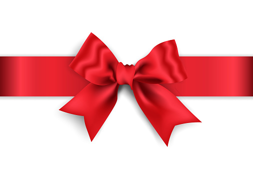 Realistic red bow with red wide ribbon isolated on white background, vector illustration.