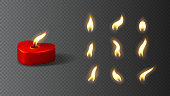 Realistic red candle with set of flames. Vector illustration with 3d burning red candle in the shape of heart isolated on checkered background.