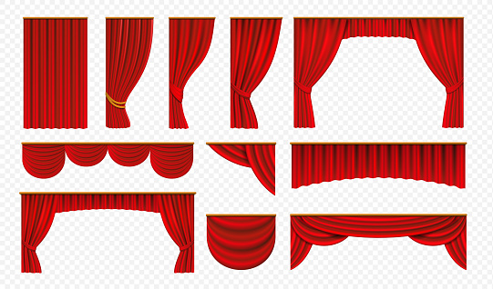 Realistic red curtains. Theater stage drapery, luxury wedding cover decoration, theatrical borders. Vector opera silk isolated on white