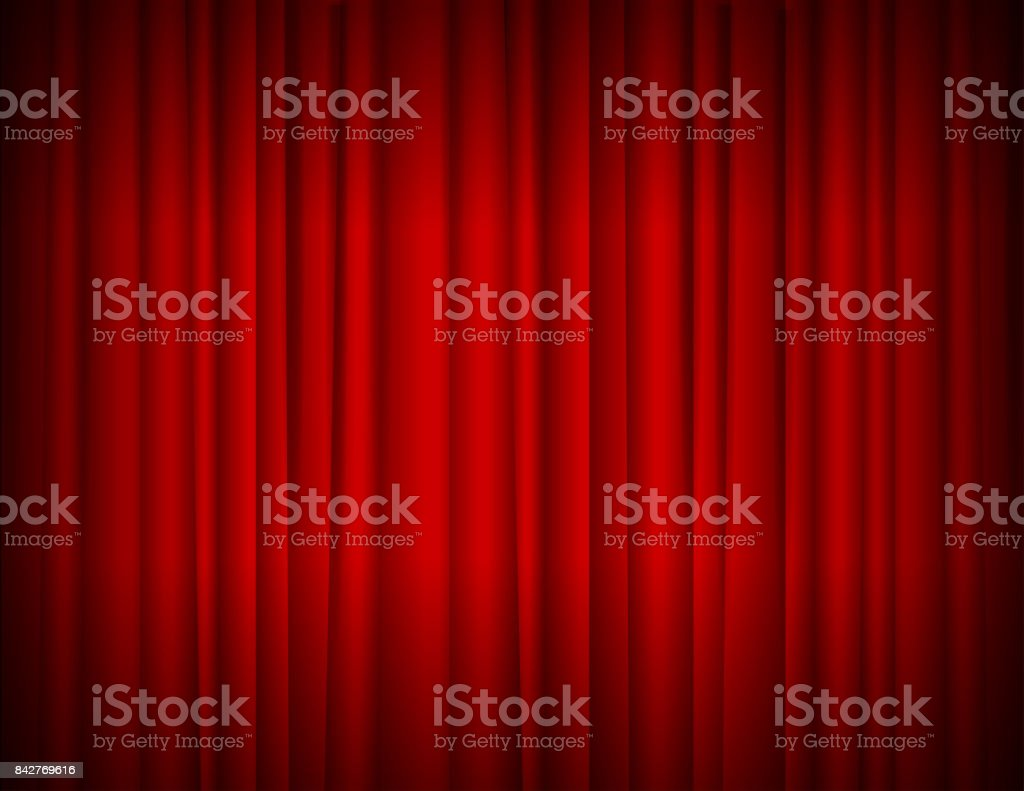 Realistic Red Full Closed Stage Curtains Background. Vector royalty-free realistic red full closed stage curtains background vector stock illustration - download image now