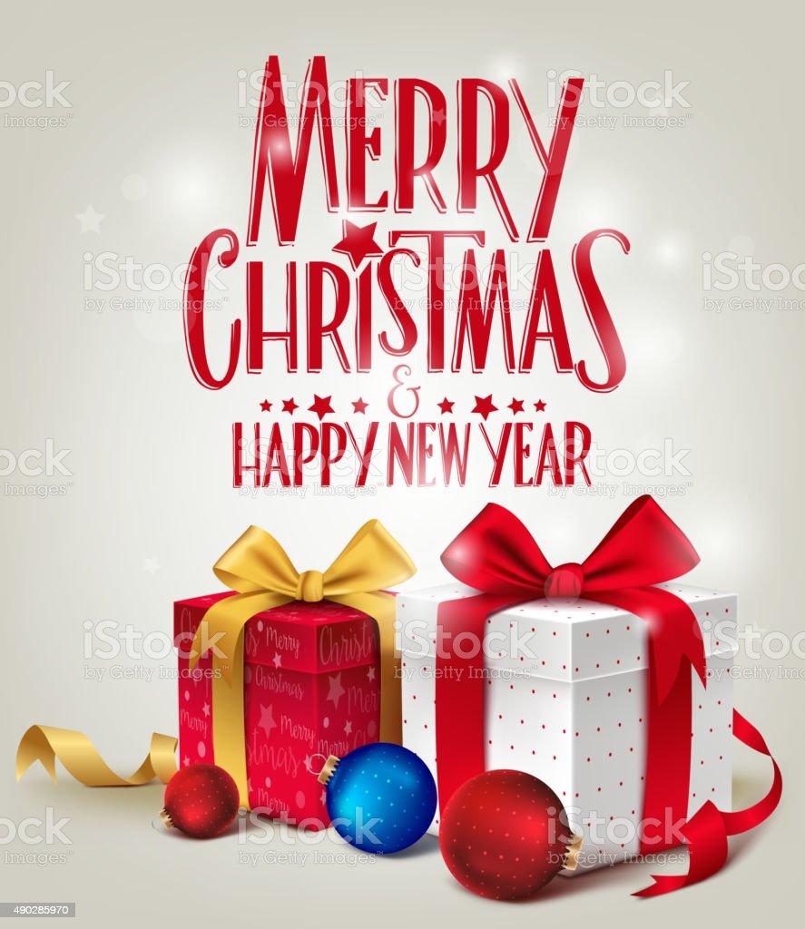 3 D Realistische Rot Geschenke Mit Frohe Weihnachten Grußkarte Für ...