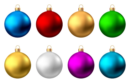 Realistic  red, gold, silver, blue, green,  purple  Christmas  balls.