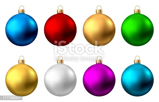 Realistic  red, gold, silver, blue, green, purple  Christmas  balls  isolated on white background. Vector  Xmas  tree decoration.