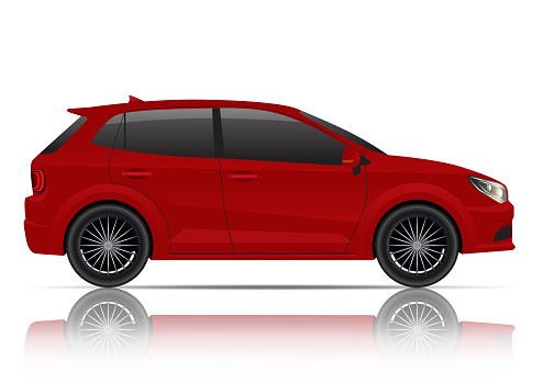 Realistic red hatchback car side view.