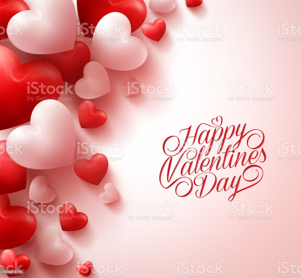 Realistic Red Hearts and Sweet Happy Valentines Day Title Text vector art illustration