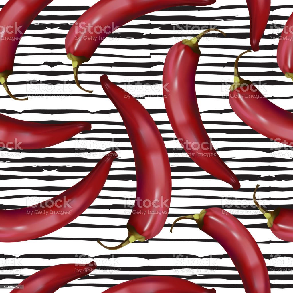 Realistic red hot chili peppers seamless pattern on doodle line background vector art illustration