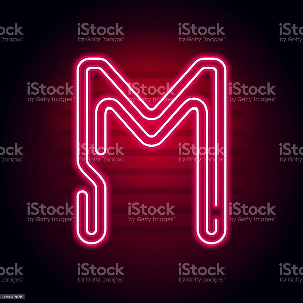逼真的紅色霓虹燈字母。在黑暗背景下的霓虹燈發光管字元。用於橫幅、標題、海報等的向量霓虹燈字母表。 - 免版稅夜晚圖庫向量圖形