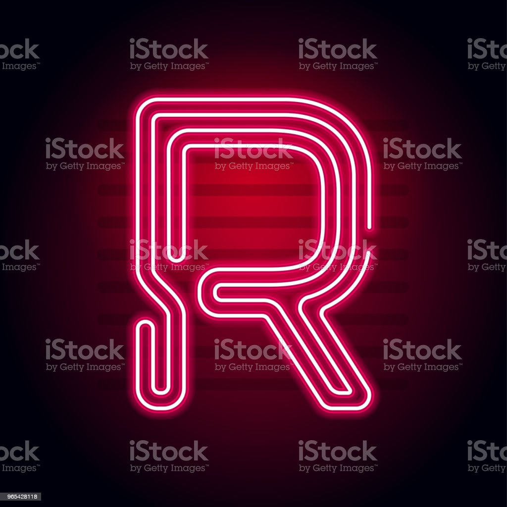Realistic Red Neon letter. Character with Neon glow tube on dark background. Vector Neon alphabet for banners, titles, posters etc. royalty-free realistic red neon letter character with neon glow tube on dark background vector neon alphabet for banners titles posters etc stock vector art & more images of abstract