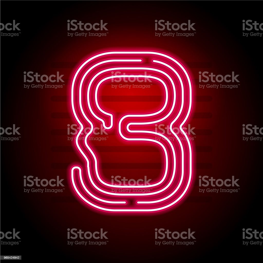 Realistic red Neon number. Number with Neon tube light on dark background. Vector Neon typeface for banners, titles, posters etc. realistic red neon number number with neon tube light on dark background vector neon typeface for banners titles posters etc - stockowe grafiki wektorowe i więcej obrazów abstrakcja royalty-free
