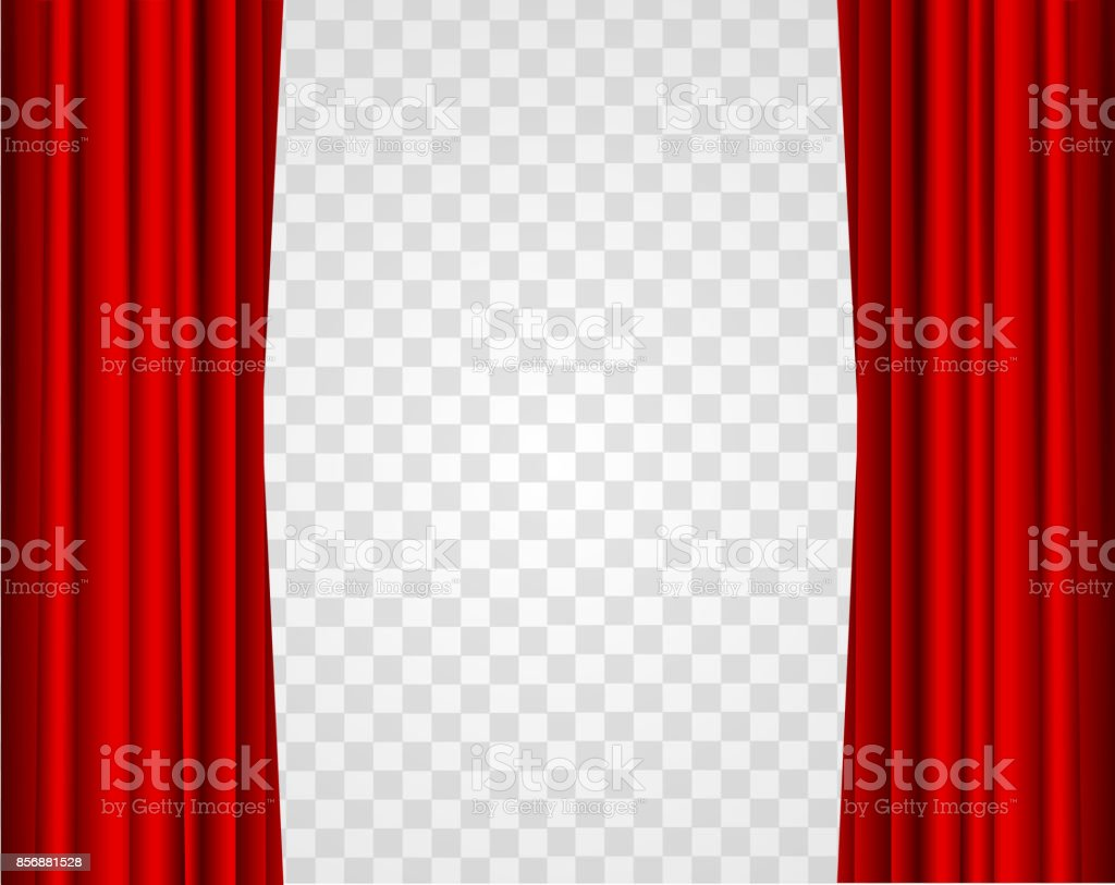 Realistic Red Opened Stage Curtains on a Transparent Background. Vector royalty-free realistic red opened stage curtains on a transparent background vector stock illustration - download image now