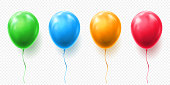 Realistic red, orange, green and blue balloon vector illustration on transparent background. Balloons for Birthday, festive occasions, parties, weddings. Festival romantic decorations.