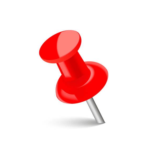 realistische rote stecknadel mit weichen schatten. vektor. - heftzwecke stock-grafiken, -clipart, -cartoons und -symbole
