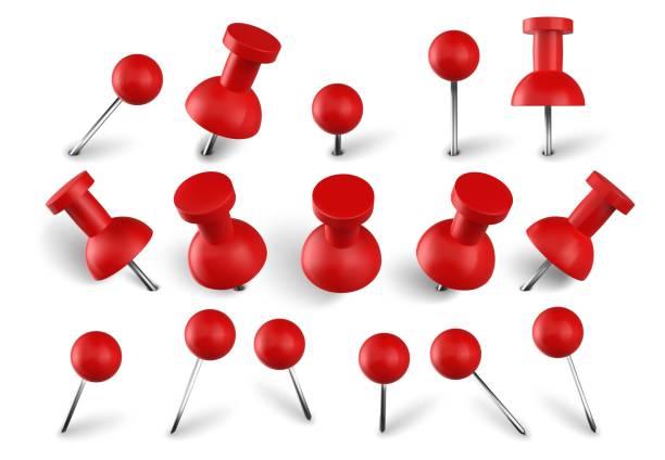 realistische rote push-pins. befestigen sie knöpfe an nadeln, angehefteten büro-daumen und papier-push-pin-vektor-set. briefpapierartikel. papierbearbeiter. schulaccessoires kollektion auf weißem hintergrund - heftzwecke stock-grafiken, -clipart, -cartoons und -symbole