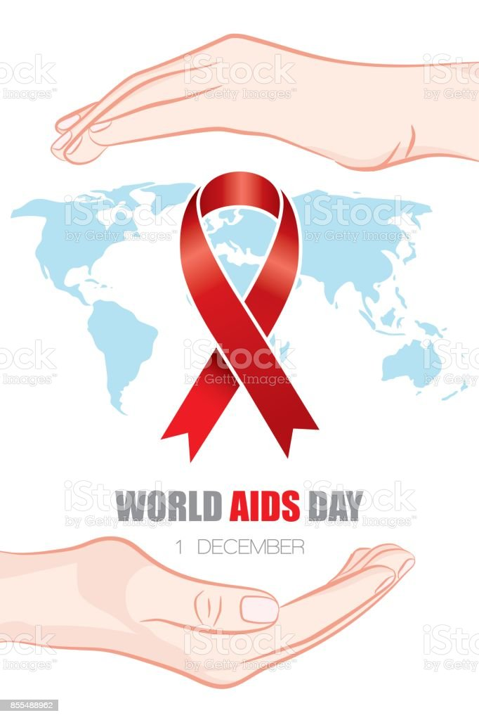 Realistic red ribbon, AIDS world day symbol. Vector illustration. vector art illustration